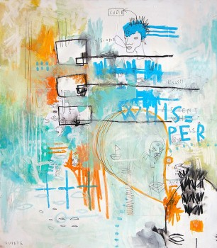 WHISPER — mixed media on canvas, 2009 — Urban Superstars at MADRE museum, Napoli