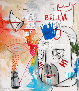 BELLA — mixed media on canvas, 2009 — Urban Superstars at MADRE museum, Napoli