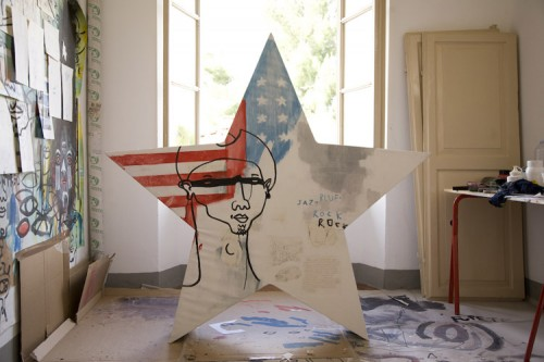 STAR SESSION — mixed media on denim, 2010 — ARTSTAR for Polo Jeans Co. Ralph Lauren