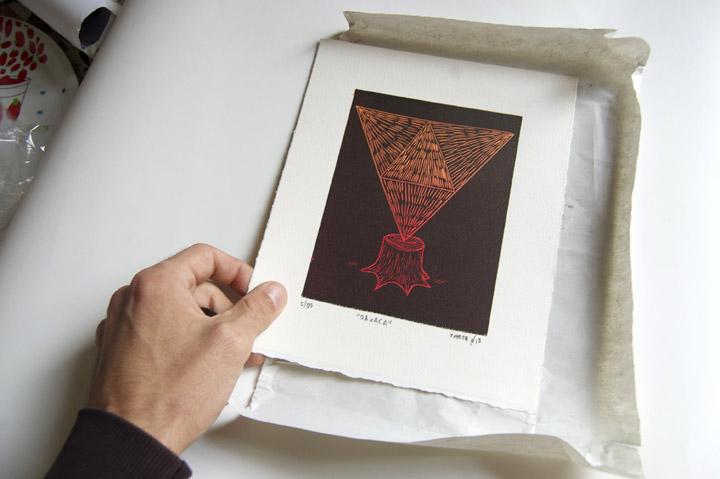 """Fupete fupete grabado oaxaca 02a """"Oaxaca"""", linocut print."""