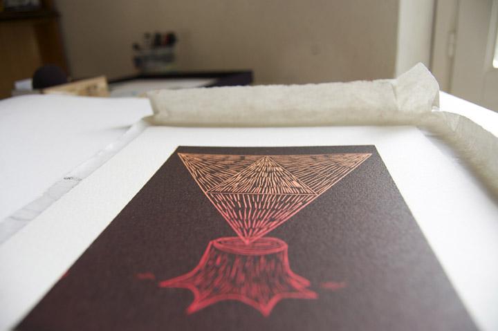 """Fupete fupete grabado oaxaca 04a """"Oaxaca"""", linocut print."""